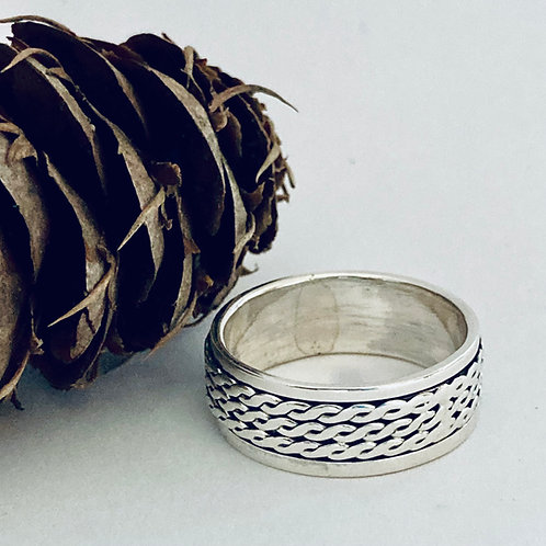 The Triple Rope -Handmade Sterling Silver Men Meditation Ring