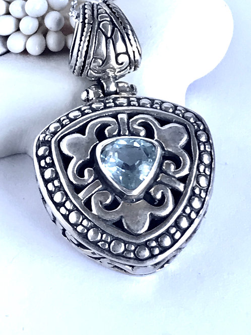 The Trigon in Blue - Handmade Sterling Silver Pendant with Blue Topaz