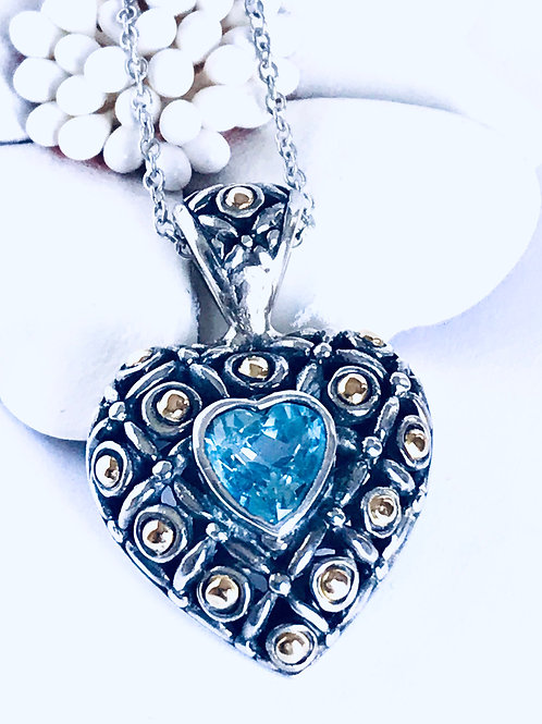 The Opulent Heart - Handmade Sterling Silver and Yellow Gold Heart Pendant