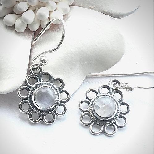 The Flower - Handmade Silver Flower Earrings with Gemstone