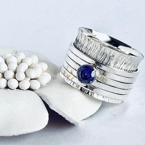 The Purple Diaphanous Meditation Ring - Handmade Sterling Silver Meditation Ring