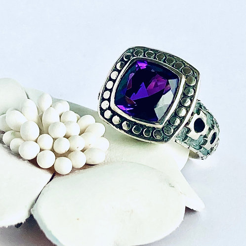 The Gothic in Purple - Handmade Sterling Silver Ring with an Amethyst