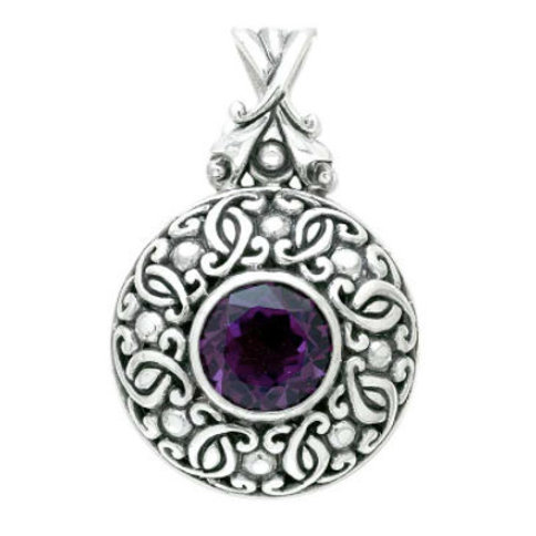 The Spherical - Handmade Sterling Silver Pendant with Natural Amethyst