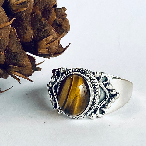 The Tiger Eye - Handmade Sterling Silver Ring with Tiger Eye