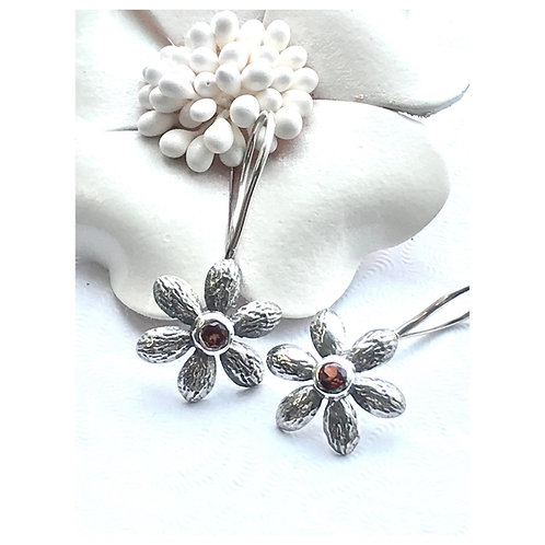 The Petals - Handmade Sterling Silver Floral Earrings with gemstones
