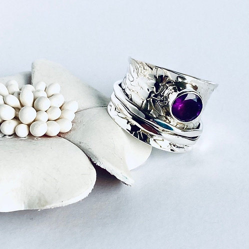 The Radiant in Purple - Handmade Sterling Silver Meditation Ring with Amethyst