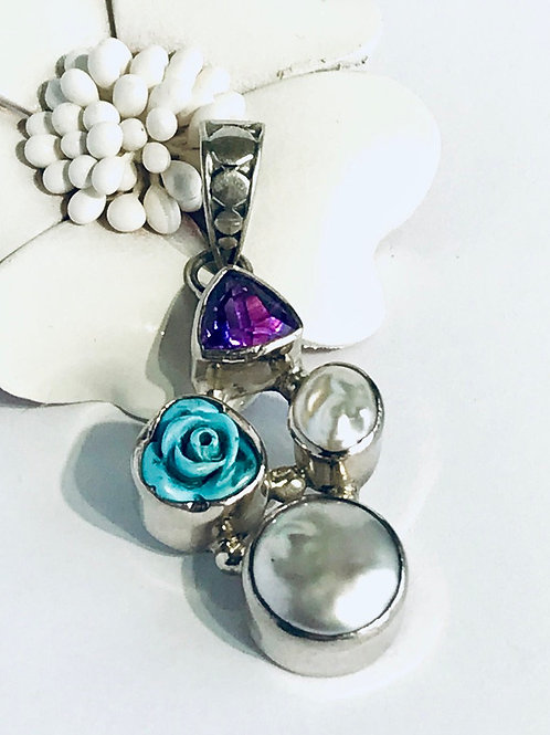 The Turquoise Rose - Handmade Sterling Silver Pendant with Carved Turquoise, Ame