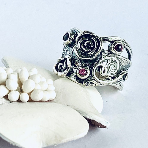 The Legendary - Handmade Sterling Silver Ring with Natural Garnets
