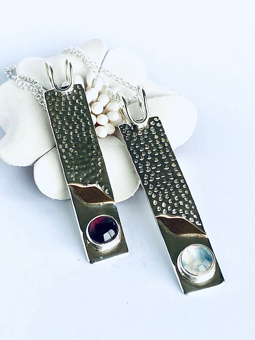 The willowy - Handmade Sterling Silver Pendant with Copper and Gemstones