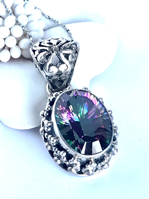 The Meditative - Handmade Sterling Silver Pendant with Mystic Topaz