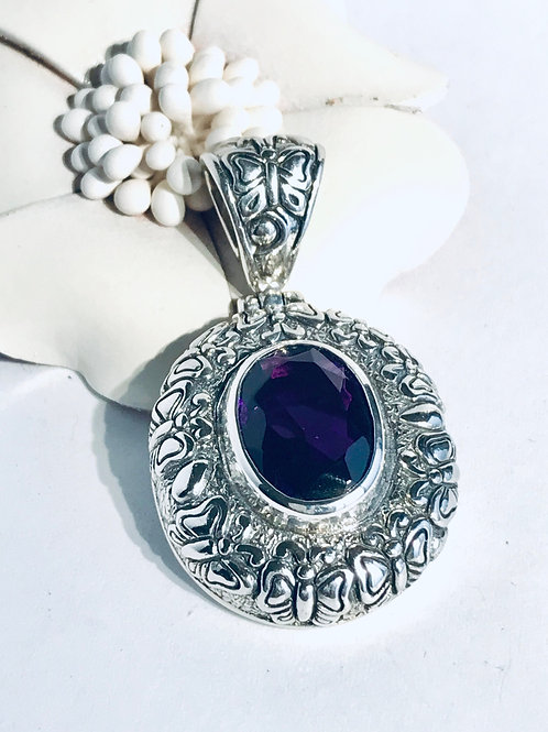 The Breezy - Handmade Sterling Silver Pendant with Amethyst