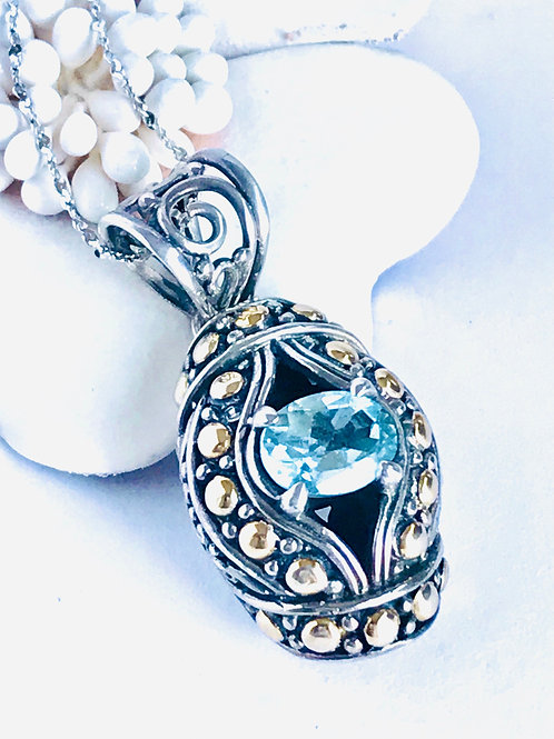 The Third Eye - Handmade Sterling Silver Pendant with Blue Topaz and Yellow Gold