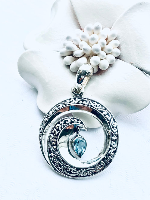 The Topaz Wave - Handmade Sterling Silver Wave Pendant with Blue Topaz
