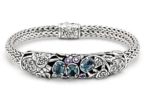 The Whimsical - Handmade Sterling Silver Bracelet with Blue Topaz