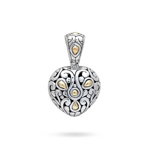The Burning Heart with Gold- Handmade Sterling Silver Heart Pendant with 18K Yel