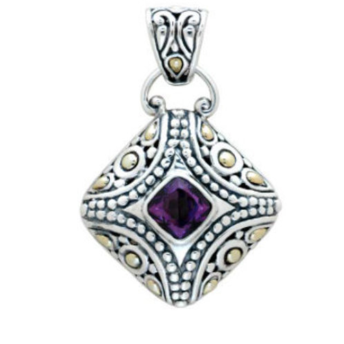 The Glamorous - Handmade Sterling Silver Pendant with Amethyst and Yellow Gold A