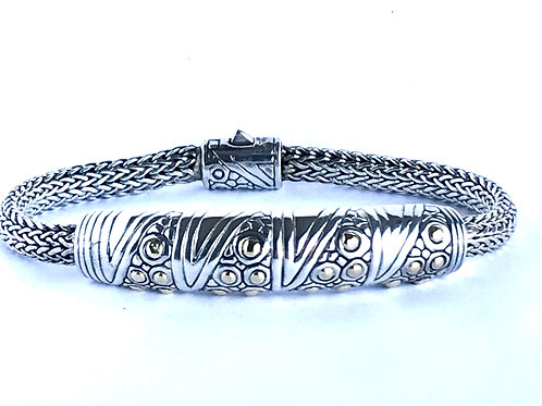 The Geometric - Handmade Sterling Silver Bracelet with or without Yellow Gold Ac