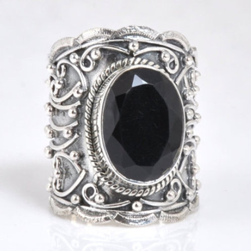 The Queenly - Handmade Sterling Silver Ring with Black Onyx