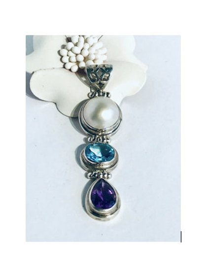 The Threesome - Handmade Sterling Silver Pendant with Gemstones and Freshwater P