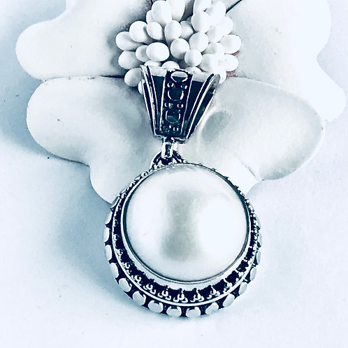 The Dotted Pearl - Handmade Sterling Silver Pendant with a Freshwater Pearl