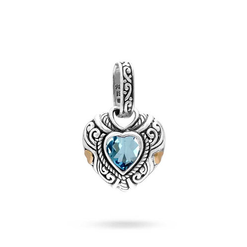 The Tender Heart - Handmade Sterling Silver Heart Pendant with a Blue Topaz and