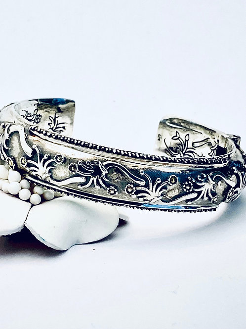 The Water Lily - Handmade Sterling Silver Bangle
