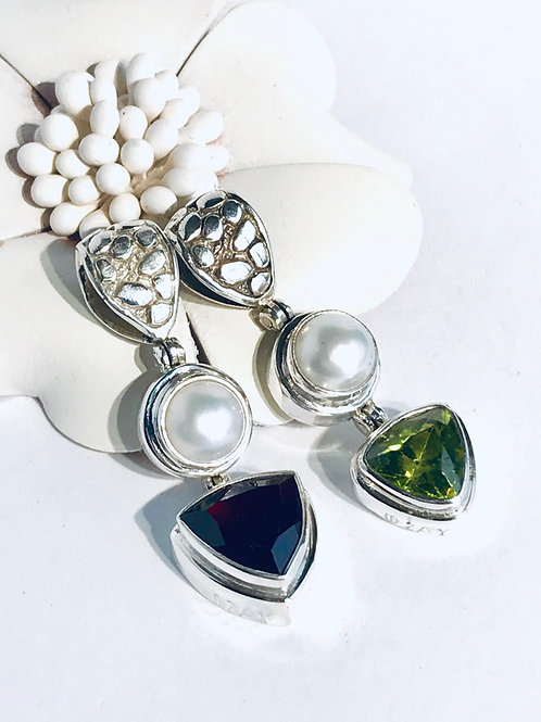 The Dyad - Handmade Sterling Silver Pendant with Gemstone and Freshwater Pearl