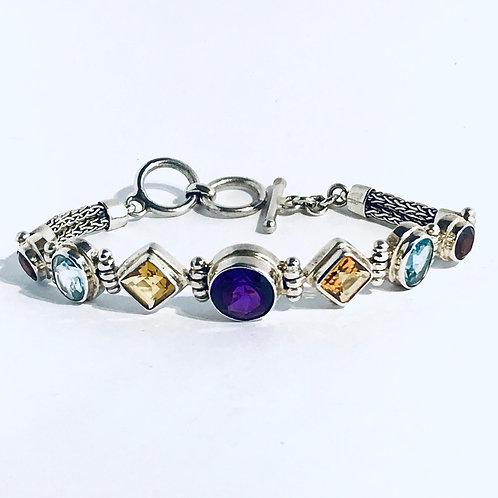 The Multicolor - Handmade Sterling Silver Bracelet with Gemstones
