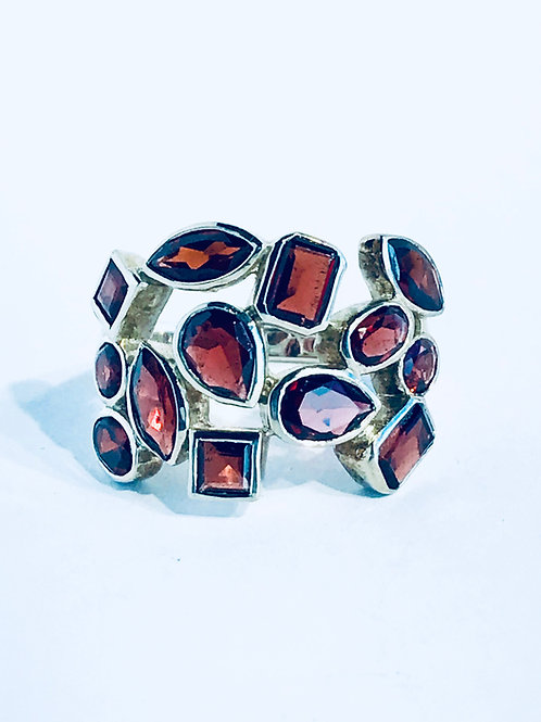 The Scarlet - Handmade Sterling Silver Ring with Garnets