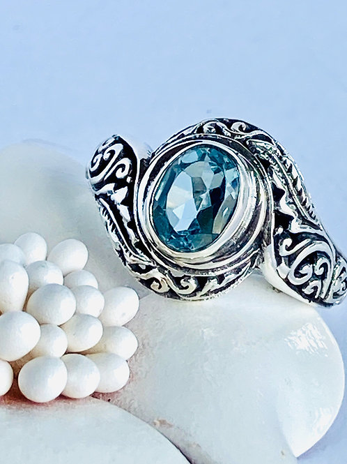 The Sea Princess - Handmade Sterling Silver Ring with Blue Topaz