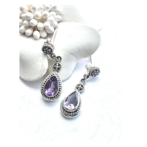 The Queen Drop - Handmade Sterling Silver Earrings with Natural Gemstones