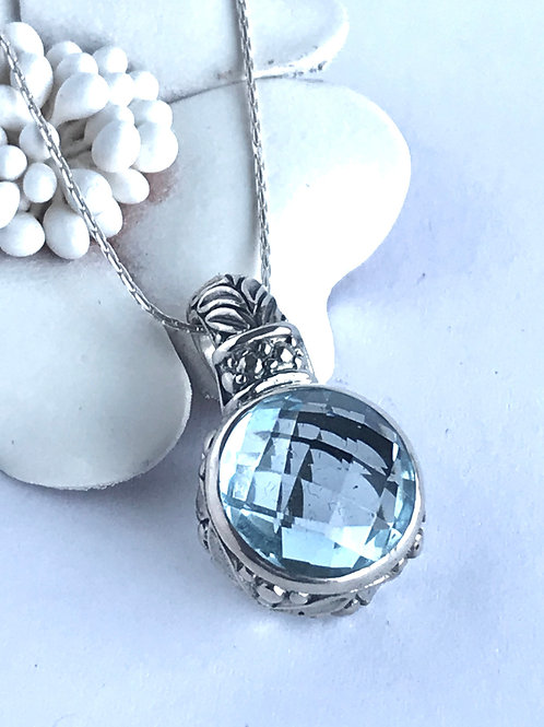 The Classical - Handmade Sterling Silver Pendant with Blue Topaz