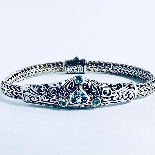 The Triplicity - Handmade Sterling Silver Bracelet with Blue Topaz