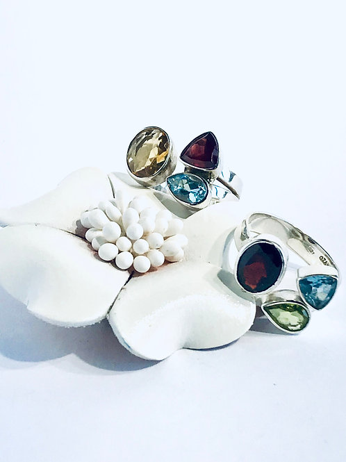 The Airy - Handmade Sterling Silver Ring with Gemstones