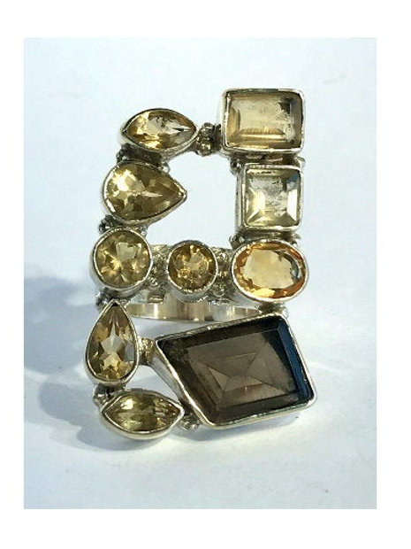 The Yellowy - Handmade Sterling Ring with Citrine and Smokey Quartz