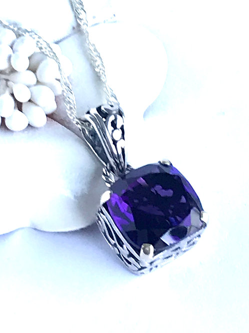 The Squarely - Handmade Sterling Silver Pendant with Amethyst