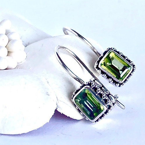 The Square - Handmade Sterling Silver Earrings with Natural Gemstones