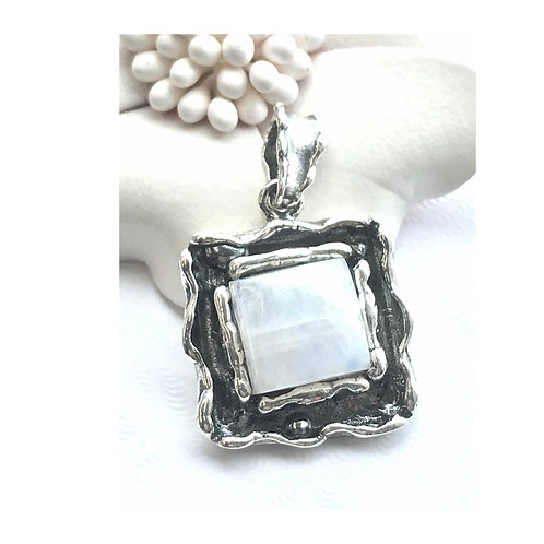 The Secretive - Handmade Sterling Silver Pendant with Natural Moonstone