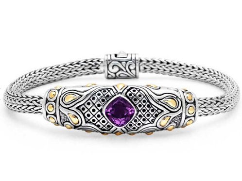 Amethyst bracelet - Handmade Sterling Silver Bracelet with Natural Amethyst and