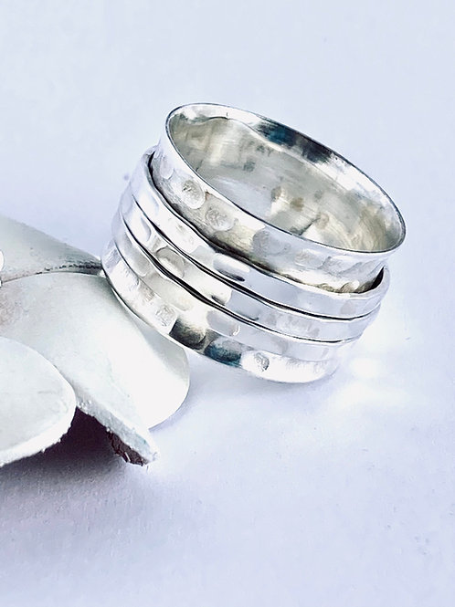 Hammered Meditation Ring - Handmade Sterling Silver Hammered Meditation Ring