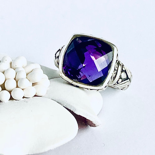 The Floral - Handmade Sterling Silver Ring with Natural Amethyst