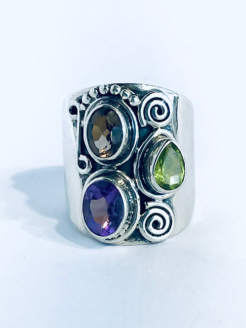 The Triune - Handmade Sterling Silver Ring with Gemstones