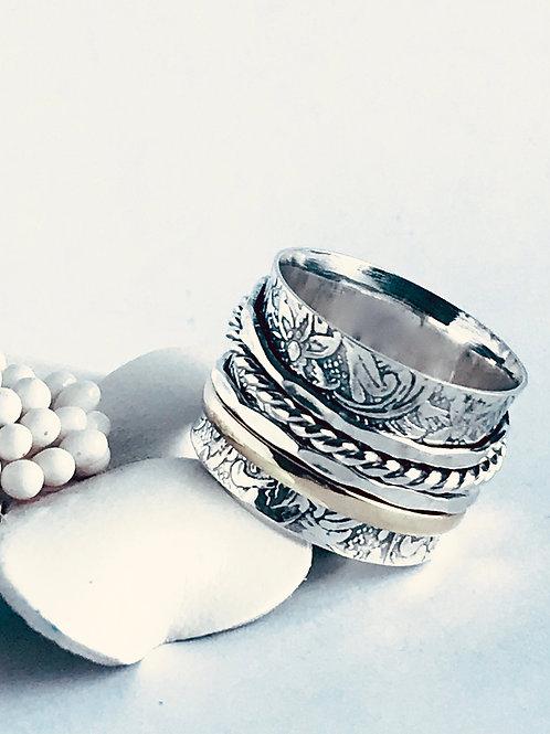 Rope and Brass Meditation Ring - Handmade Sterling Silver and Brass Meditation R