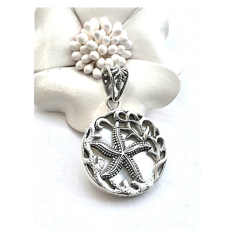 The Storyteller - Handmade Sterling Silver Pendant with Mother of Pearl and Star
