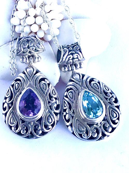 The Droplet - Handmade Sterling Silver Teardrop Pendant with Gemstones