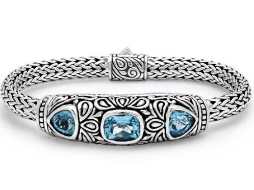 Blue Sky - Handmade Sterling Silver Bracelet with Genuine Blue Topaz and Yellow