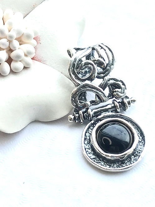 The Uncompromising - Handmade Sterling Silver Pendant with Black Onyx
