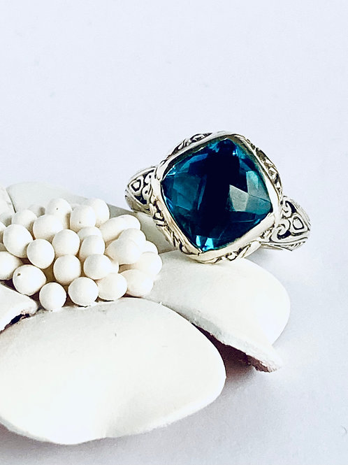 The Charming in Blue - Handmade Sterling Silver Ring with Blue Topaz