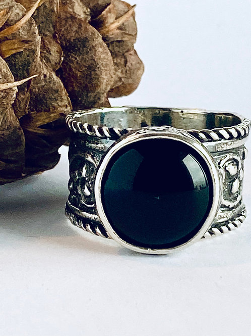 The Decadent - Handmade Sterling Silver Ring with Black Onyx