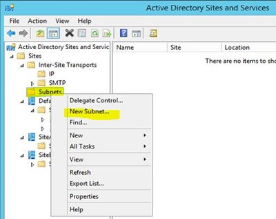 Add subnet on Active Directory Sites and Services